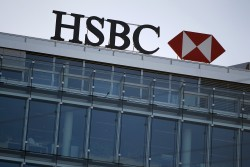 HSBC logo is pictured at a Swiss branch of the bank, in Geneva